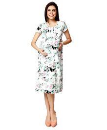 Nine Short Sleeves Printed Maternity Nursing Dress - White