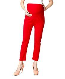 Nine Maternity Ankle Length Leggings - Red
