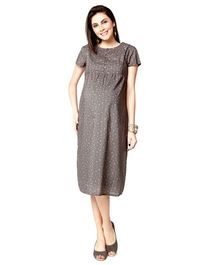 Nine Short Sleeves Maternity Gown Allover Print - Brown