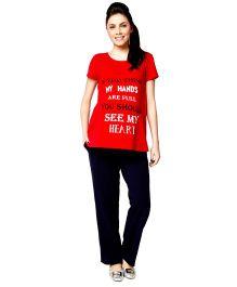 Nine Short Sleeves Maternity Night Wear Set - Red Black