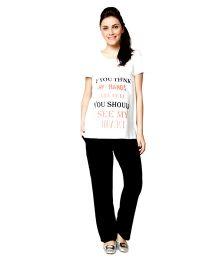 Nine Short Sleeves Maternity Night Wear Set - White Black
