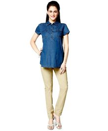 Nine Maternity Denim Shirt - Navy