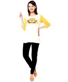 Nine Maternity Wear Slogan Print Top - Yellow White