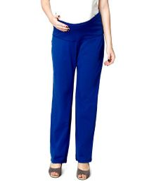 Nine Maternity Full Length Foldover Jersey Pants - Blue