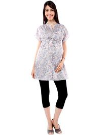 Nine Short Sleeves Maternity Tunic Floral Print - Multi Color