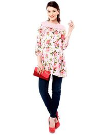 Nine Long Sleeves Maternity Tunic Top Floral Print - Pink
