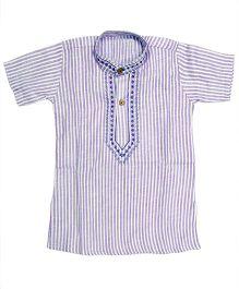 BownBee Half Sleeves Cotton Kurta - Purple