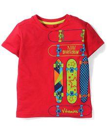 Vitamins Half Sleeves T-Shirt Skate Board Print - Red