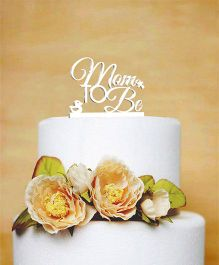 The Joy Factory Mom To Be Cake Topper - White