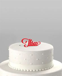 The Joy Factory Three Cake Topper - Red