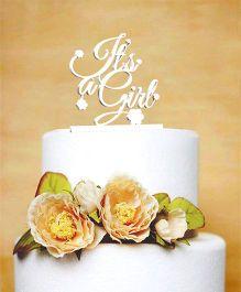 The Joy Factory It'S A Girl Cake Topper - White