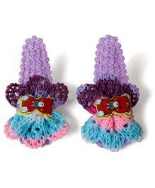 Many frocks & Woolen Flower Clips - Purple
