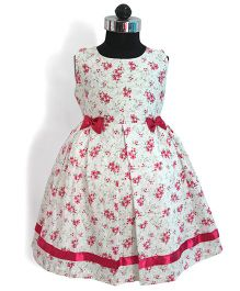 Many frocks & Floral Printed Cotton Frock - White