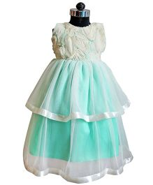 Many frocks & Princess Dress - Light Sea Green & Cream