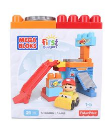 Mega Bloks First Builders Spinning Garage 21 Pieces - Multicolor