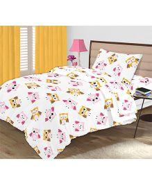 Kooki-Choo Owls Single Bed Sheet - Pink And White