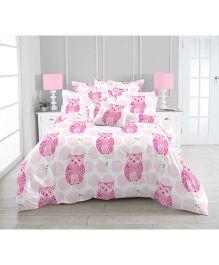 Kooki-Choo Owls Double Bed Sheet - Pink