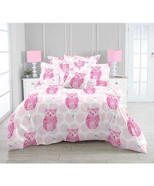 Kooki-Choo Owls Single Bed Sheet - Pink