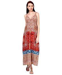 Oxolloxo Elegant Printed Maxi Dress - Multi Color