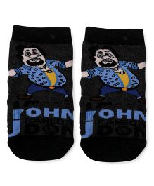 Mustang John Print Ankle Length Socks - Charcoal Black