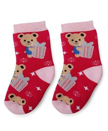 Mustang Teddy With Gift Print Ankle Length Socks - Fuchsia