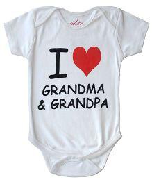 Acute Angle I Love Grandma Granpa Print Romper - White