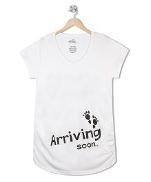 Acute Angle Arriving Soon Maternity Tee - White