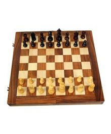 AVM 16 inch Folding Wooden Chess Set With Coins Chess Board