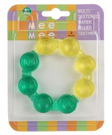 Mee Mee Multi Textured Water Filled Teether Bubble Ring Shape - Green & Yellow