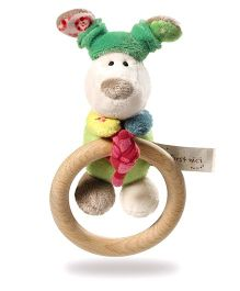 Nici Wooden Grasp Ring Dog Fino With Bell Soft Toy - Mutlicolour