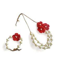 Soulfulsaai Flowers Motif Necklace & Bracelet - Red
