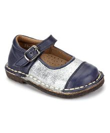 Teddy Toes Mary Jane Shoes - Blue and Silver