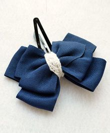 Pretty Ponytails Classic Bow Hair Clip - Navy Blue