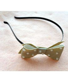 Pretty Ponytails Pearl Striped Bow Hair Band - Light Brown