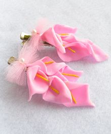 Pretty Ponytails Anthoriums Bow Tied Hair Clip - Pink