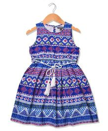 Sequences Beautiful Aztec Printed Dress With White Tassel Belt - Blue