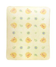Piyo Piyo Hot Air Balloon Fleece Blanket - Yellow