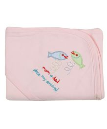 Lula Double Hooded Baby Wrapper Fish Embroidery - Peach