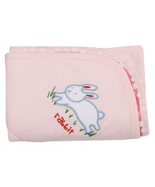 Lula Double Hooded Baby Wrapper Rabbit Embroidery - Pink