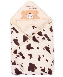 Hooded Baby Swaddle Wrappers Teddy Embroidery - Cream