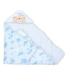 Hooded Baby Swaddle Wrappers Teddy Embroidery - Sea Blue