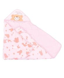 Hooded Baby Swaddle Wrappers Teddy Embroidery - Light Pink