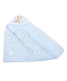 Hooded Baby Wrapper Teddy Embroidery - Blue