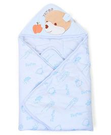Hooded Baby Wrapper Bear Embroidery - Blue