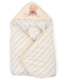 Hooded Baby Wrapper Stripes Print - Cream