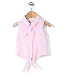 Little Denim Store Dot Print Tie Up Top - Pink