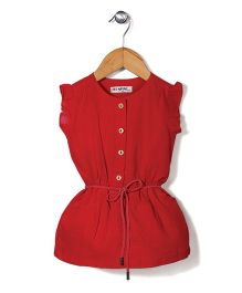 Miss Pretty Dress With Front Buttons - Red
