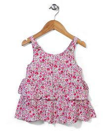 Miss Pretty Sleeveless Floral Dress - Pink