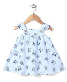 Miss Pretty Flower Print Dress - Light Blue
