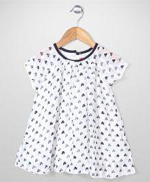 Miss Pretty  Half Sleeves Printed Dress - White